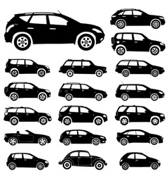 Large collection of silhouettes of cars element fo vector