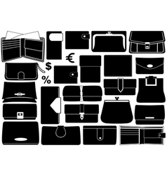 Set of different wallets vector image vector image
