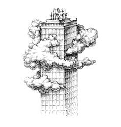 skyscraper in the clouds sketch vector image