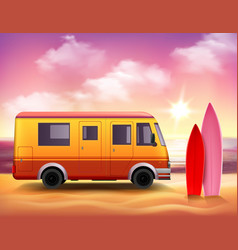 surfing van 3d colorful background poster vector image vector image