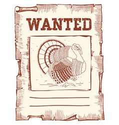 Thanksgiving turkey Wanted on western paper vector image