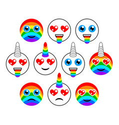unicorns characters and emoticons of emoji vector image