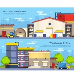 Warehouse Flat Banners vector image vector image