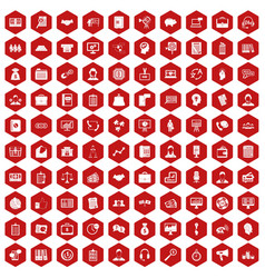 100 business people icons hexagon red vector