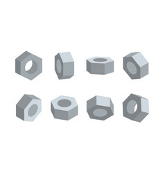 3d nut in various angles nuts top view side view vector image