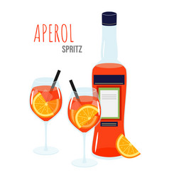 Aperol spritz cocktail on a white background two vector