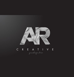 Ar a r letter logo with zebra lines texture vector
