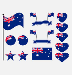 australia flag set collection of symbols flag vector image