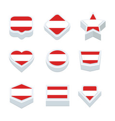 austria flags icons and button set nine styles vector image