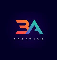 Ba logo letter design with modern creative vector