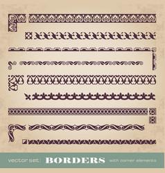 Calligraphic frames borders with corner elements vector