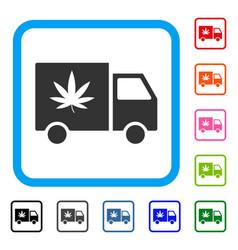 cannabis delivery van framed icon vector image