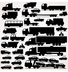 Car Icon Set Side View Silhouettes vector image