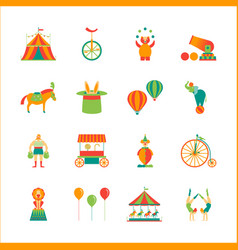 Cartoon circus color icons set vector