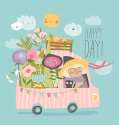 Cartoon happy grandmother driving a car vector