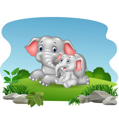 Cartoon mother and baby elephant in the jungle vector