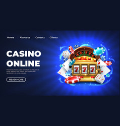 casino landing page gambling roulette website big vector image