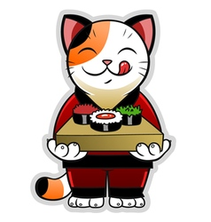Cat with sushi vector