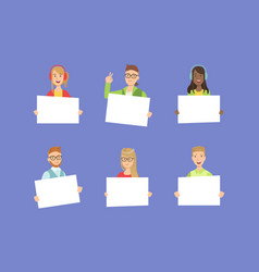 cheerful people holding blank banners set happy vector image
