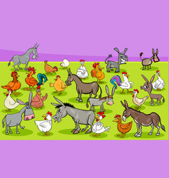 chickens and donkeys farm animal characters group vector image