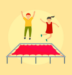 children on trampoline background flat style vector image