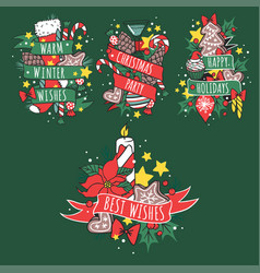 christmas hand drawn tape badges style holiday vector image