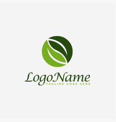 couple leaf nature logo icon template vector image