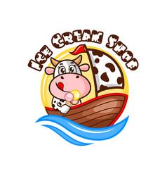 cow and ice cream logo vector image
