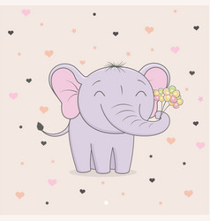 Cute elephant with flowers on background of hearts vector