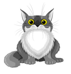 Cute gray fluffy cat vector