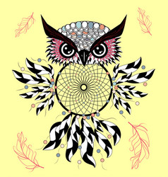dream catcher with owl boho style totem animal vector image