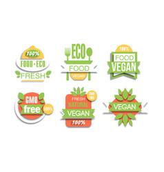 eco fresh food labels set natural vegan food gmo vector image