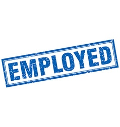 Employed blue square grunge stamp on white vector