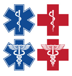 Emt nurse doctor caduceus medical symbols vector
