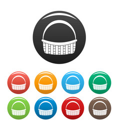 farm basket icons set color vector image