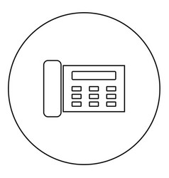 Fax black icon outline in circle image vector