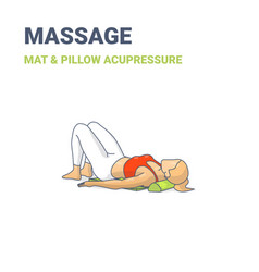 Female lying on an acupressure mat and pillow vector