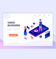 Flat design isometric concept video blogging vector