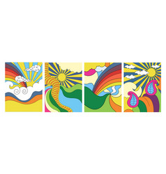 four stylized abstract psychedelic landscapes vector image