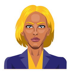 girl with yellow hair and eyebrows on white vector image