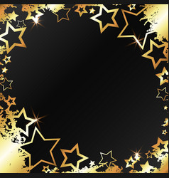 gold patterns and stars on a black background vector image