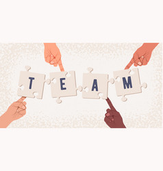 group hands collecting puzzle with team word vector image
