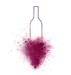 hand drawing wine bottle and grapes vector image