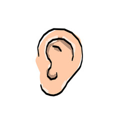 Hand drawn ear sketch symbol listen vector