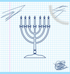 hanukkah menorah line sketch icon isolated on vector image