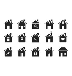 home icons black flat homes shapes houses vector image