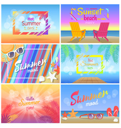 Hot summer days 2018 sunset beach party summertime vector