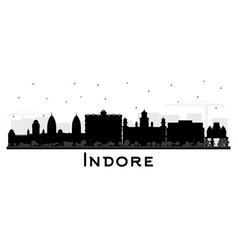Indore india city skyline silhouette with black vector