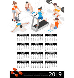 isometric fitness 2019 year calendar template vector image