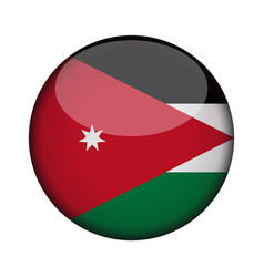 Jordan flag in glossy round button of icon vector